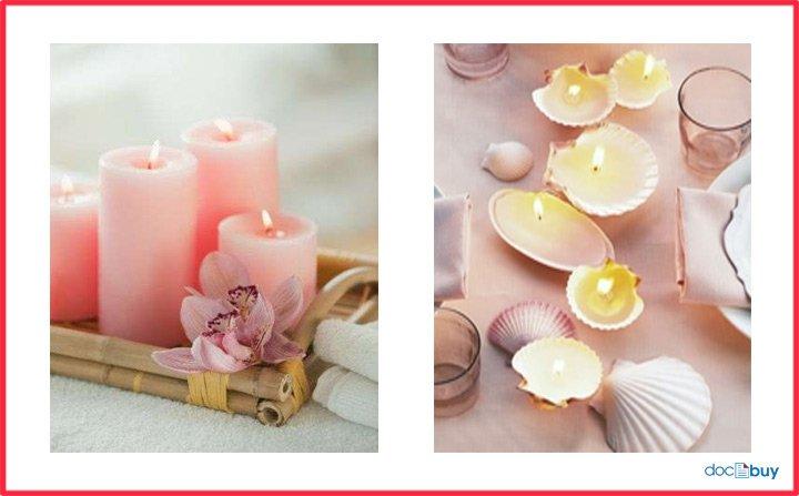 candele profumate accese