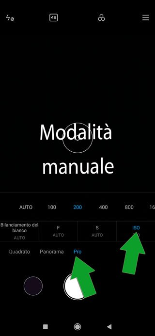 fotocamera smartphone in modalità manuale - ISO
