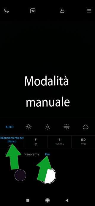 fotocamera smartphone in modalità manuale - bilanciamento del bianco