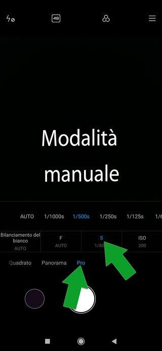 fotocamera smartphone in modalità manuale - tempo di esposizione